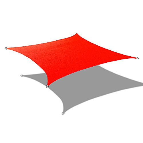 ALION HOME Custom Sizes Rectangle PU Waterproof Woven Sun Shade Sail with Stainless Steel Hardware Kits 14 x 12 , Tomato Red