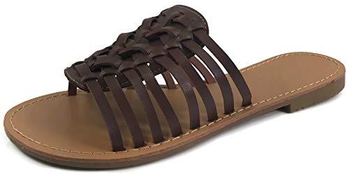 Forever Collection Womens Woven Huarache Flat Sandal Open Toe Slip On, Brown, 8