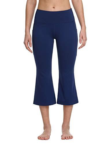 Baleaf Girl's Sports Capri Pants Flare Yoga Dance Running Bootleg Crop Leggingss Navy S