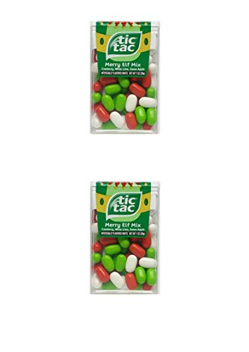 Tic Tac Merry Elf Mix - Cranberry, White Lime, Green Apple (1 oz) (2 Pack)