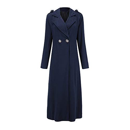 Seaintheson Winter Coat for Women, Women's Lapel Long Sleeve Wool Blend Longline Overcoat Open Front Cardigan with Buttons -
