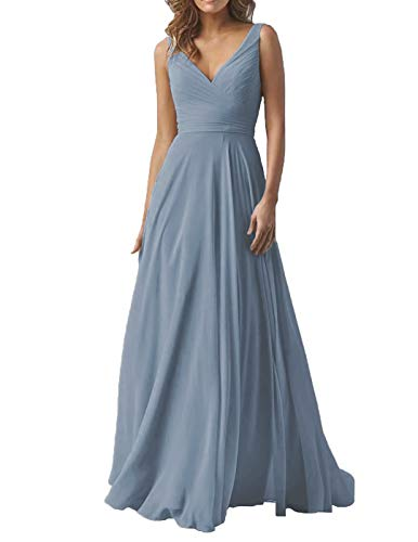 Dusty Blue Wedding Bridesmaid Dresses Long V-Neck Chiffon Formal Evening Party Dress for Women 2019