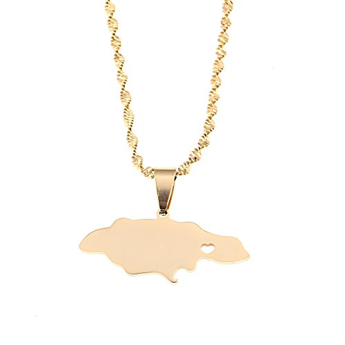 - Heart Jamaica Jamaican Map Pendant Necklace for Women Girl Gold Color Jewelry (Gold Color)