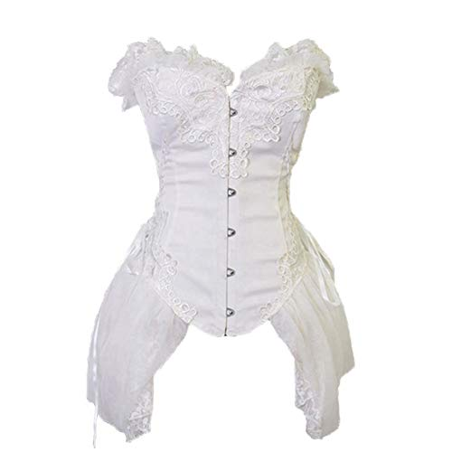 Women Corsets Dress Gothic Bustiers Body Shapers Waist Trainer Steampunk White