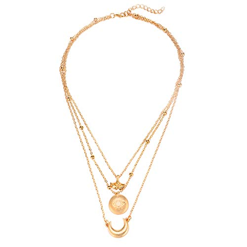 XBKPLO Necklace for Women Layered Pendant Boho Crescent Eye Clavicle Chain Wild Three-Layer Gold Accessories Gift Jewelry Charm Choker