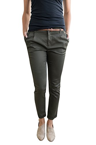 Chuanqi Womens Casual Straight Leg Cropped Ankle Comfortable Work Pants with Pockets,Army Green,Medium