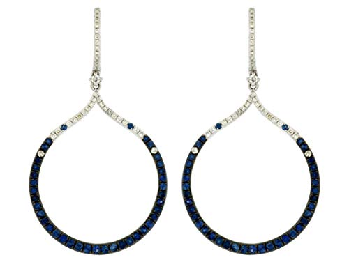 Milano Jewelers 1.64CT Diamond & Sapphire 14KT White Gold Circle of Life Hanging Earrings
