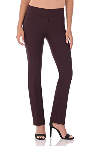 Rekucci Women's Ease in to Comfort Straight Leg Pant with Tummy Control (4,Cassis) ()