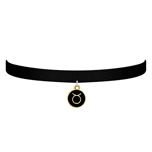 black-velvet-choker-necklace-gothic-with-gold-taurus-pendant-3-8-inch-for-girls-women-gold-taurus