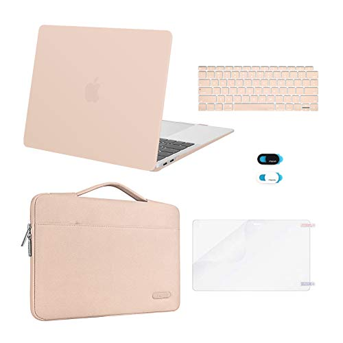 MOSISO MacBook Air 13 inch Case 2020 2019 2018 Release A2337 M1 A2179 A1932,Plastic Hard Case&Bag&Keyboard Skin&Webcam Cover&Screen Protector Compatible with MacBook Air 13 inch Retina, Camel