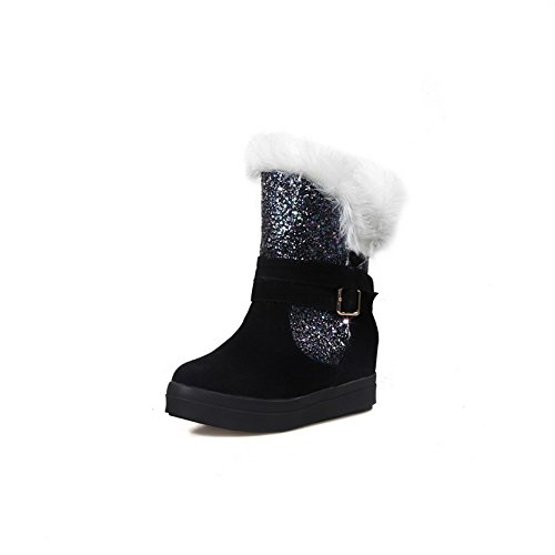 AmoonyFashion Womens Imitated Suede Round Closed Toe Low-Top Kitten-Heels Boots Black soojID