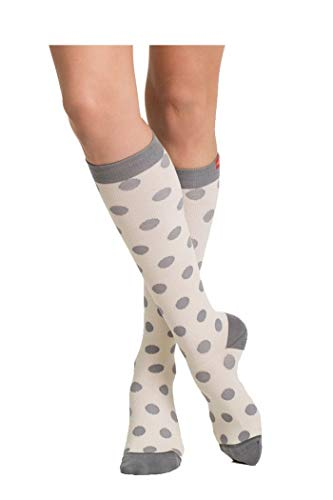 VIM & VIGR Stylish Compression Socks - Women's Cotton Socks - Cream & Grey Polka Dots (Wide/Extended Calf)