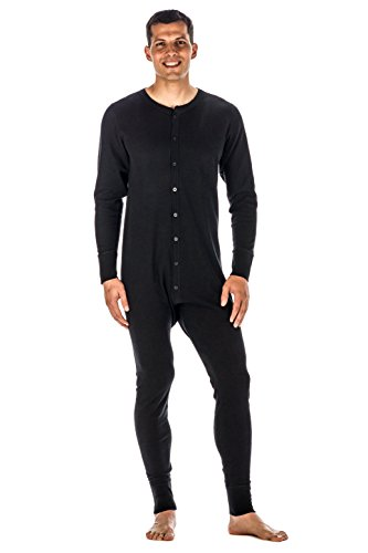 Mens Waffle Knit Thermal Union Suit - Black - Medium