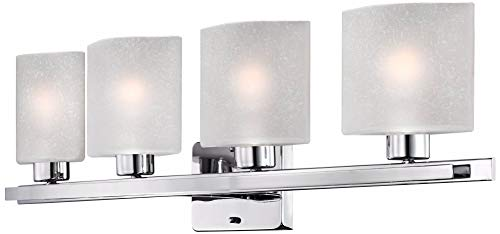 Possini Euro Linen Glass 32'' Wide Chrome 4-Light Bath Light - Possini Euro Design by Possini Euro Design (Image #4)