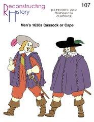 1630's Men's Cassock and Cape Pattern (Elizabethan Costume Pattern)