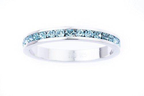 Traditions Jewelry Swarovski Crystal Eternity Ring in Aquamarine for March Size - 8