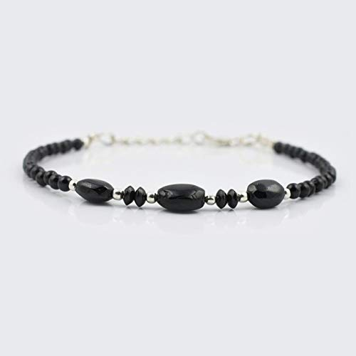 (Black Spinel Oval Beads Bracelet with Sterling Silver Findings 6.50