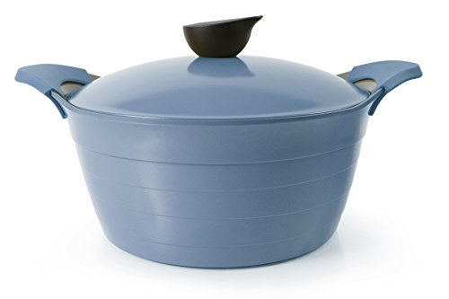 Neoflam Eela 7 QT Ceramic Nonstick Stockpot with Steam Releasing Lid in Deep Blue