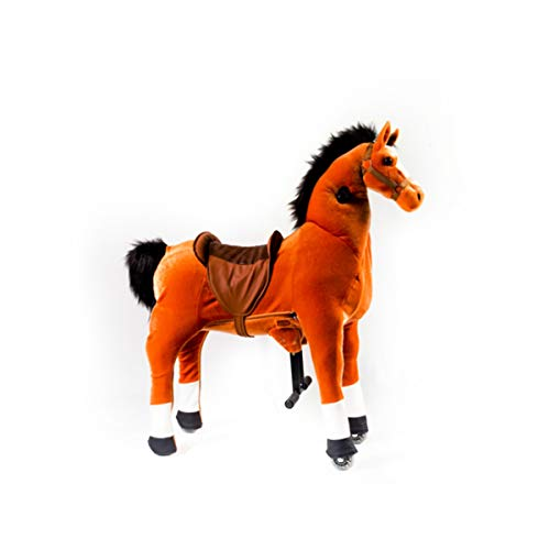 mofawangzi Saddle-Less Rocking Ride on Pony Toys Walking Horse Cycle Toy with Wheels and Foot Rest Without Battery or Electricity Mechanical Black & White Small for 3-8 Age