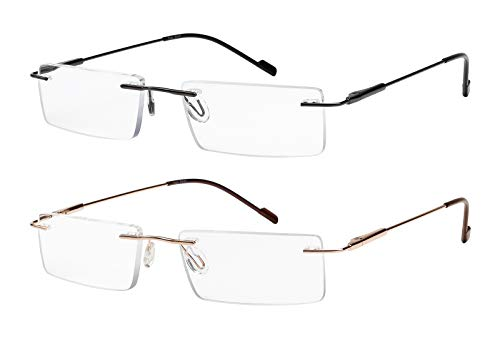Reading Glasses 2 Pair Rimless Ultra Lightweight Readers for Men and Women -