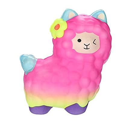 Dkings Squishies Adorable Llamas Slow Rising Fruits Scented Squeeze Stress Relief Toys (A)