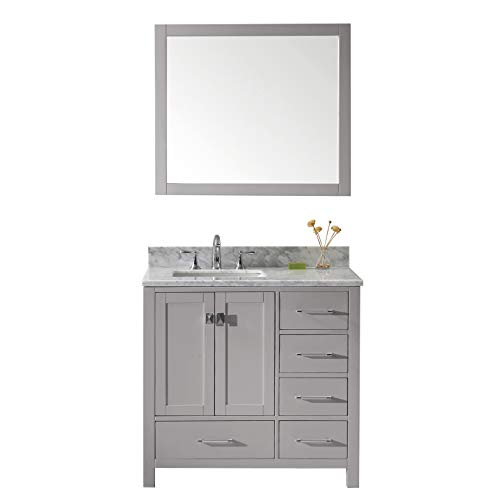 - Virtu USA GS-50036-WMSQ-CG-001 Caroline Avenue Single Bathroom Vanity with Marble Top/Square Sink with Brushed Nickel Faucet/Mirror 36