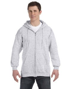 Hanes mens 9.7 oz. Ultimate Cotton 90/10 Full-Zip Hood(F280)-Ash-S Ash Ladies Full Zip