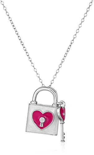 Sterling Silver Diamond Accent Lock and Key White with Magenta Enamel Pendant Necklace, 18