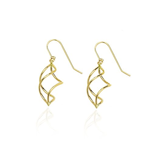 14k Yellow Gold Twisted Pointing Oval Dangle Drop Earring with Fish Hook in Gift Box for Women and Girls by SL Gold Imports