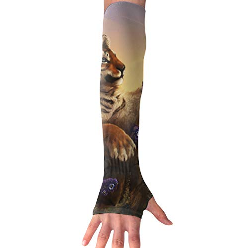 RZM YLY Unisex Tiger and Butterfly Arm Sleeves UV Sun Protective Multifunctional Tattoo Arm Gloves Long Sleeve Perfect for Basketball (1 Pair) -