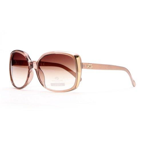Anais Gvani Women's Classic Square Frame Sunglasses w/ Bold Gold Accent -Gold Tan (Sunglasses Womens Tan)