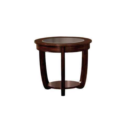 Furniture of America Byrnee End Table with 5mm Beveled Glass Top, Dark Cherry (Oval Wood Finish End Table)