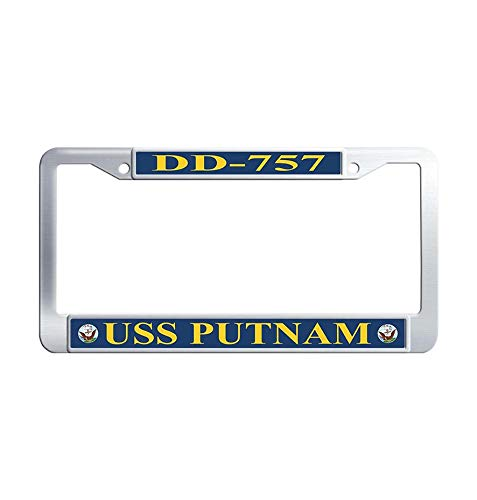 Hensonata USS Putnam DD-757 License Plate Covers, Cool Metal Waterproof License Cover Holder with Screw Caps for US -