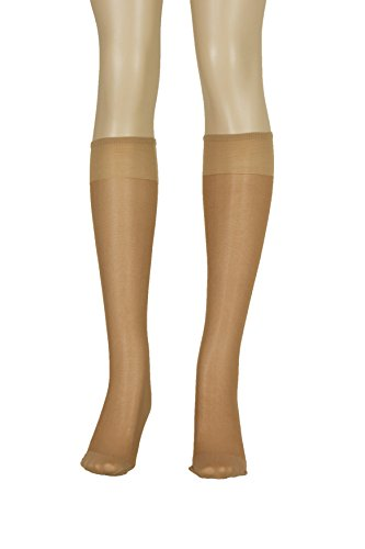 Lissele Full Support Women's Plus Size Knee High 3 Pack (Suntan, XXL)