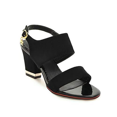 Women Sandals Flock Women Shoes Platform Buckle Square High Heel Solid,Black,10