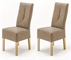 Robas Lund Stühle 2er Set Taupe, Küchenstuhl mit Kunstlederbezug, Stuhlbeine Massivholz Eiche Sonoma Nachbildung, Stuhl Fabius