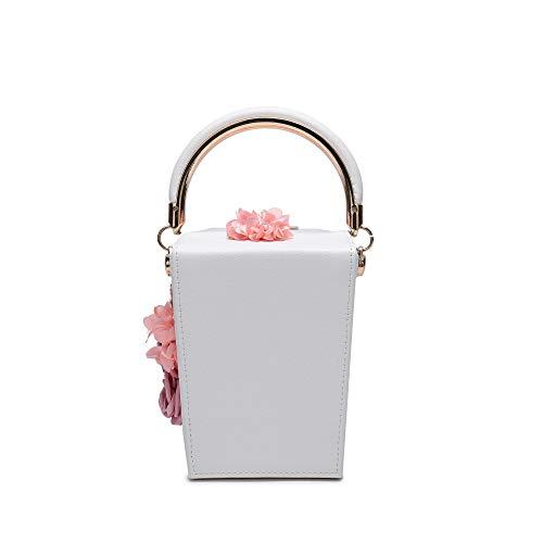 Prom Bridal for Clutch Satin Cocktail White Box Clutch Bag Wedding Party Women Flower Evening vxq88Ya