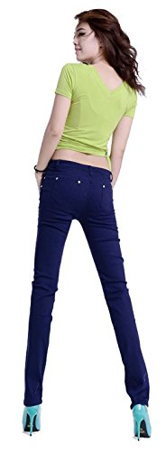 Jeansian Mujeres Candy Fashion colores Solid Pencil pantalones Slim Fit Skinny Jeans Stretch pantalones caliente W099 Navy_12
