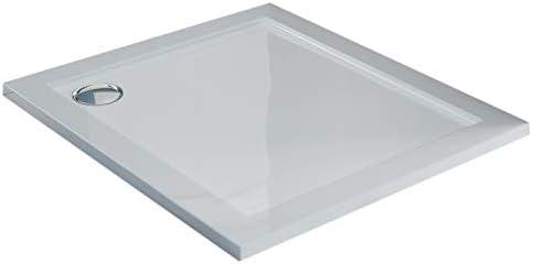 Plato de Ducha 75x75x4 cm Cuadrato Acrílico Borde Realzado Blanco Brillante Mod. Flower: Amazon.es: Hogar