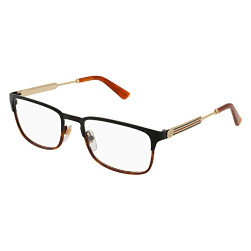 Eyeglasses Gucci GG 0135 O- 004 BLACK / - Black And Gucci Gold Glasses