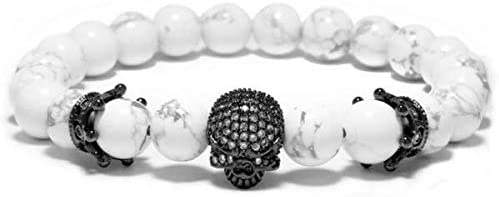 ROKETS - Pulsera White Diamond Calavera- Piedras Semi Preciosas de Agatha - Hombre