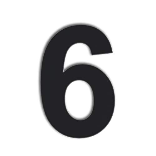 QT Modern House Number - 6 Inch Black - Stainless Steel (Number 6 Six / 9 Nine), Floating Appearance, Easy to Install and Made of Solid 304 Stainless Steel