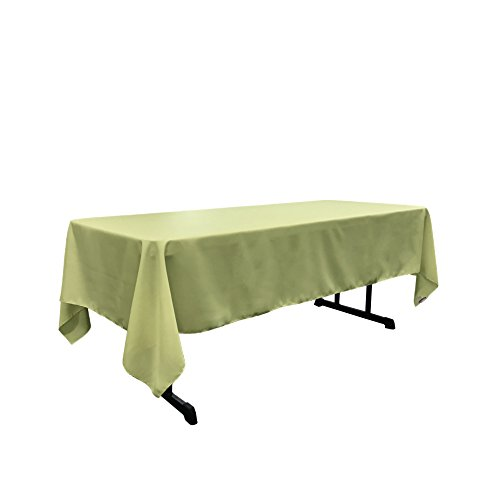 LA Linen Polyester Poplin Rectangular Tablecloth, 60 by 102-Inch, Sage (Polyester Tablecloth Sage)