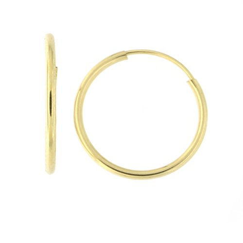 14k Yellow Gold 1mm Classic Endless Hoop Earrings, 14mm (9/16)