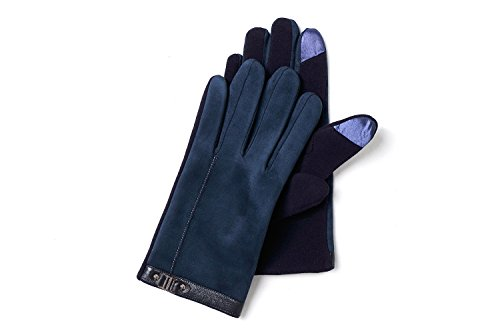 YISEVEN Men's Suede Chamois Leather Gloves Touchscreen Flat Design Plain Lined Luxury Soft Hand Warm Fur Heated Lining for Winter Spring Stylish Dress Work Xmas Gift and Motorcycle Driving, Blue M by YISEVEN (Image #3)