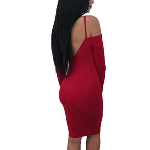 Jupe Longue Manches Femmes Cou Strappy V Chaud Filles Rouge Yanhoo L Moulante Nu Longues Robe Dos Rouge Dames Profonde Sexy wFfAYZq