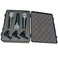 Kit com 3 Microfones Dinâmicos Profissionais MXT BT58A com Cachimbos + Maleta