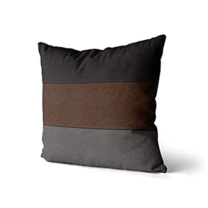 WAYATO Set of 2 Pillow Case Cotton Polyester Blend Throw Pillow Covers Black Brown Grey Look Bed Home Decor Cushion Cover 18X18 Inch