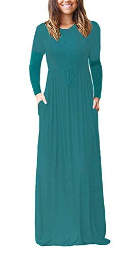 GRECERELLE Women's Long Sleeve Loose Plain Maxi Dresses Casual Long Dresses with Pockets Acid Blue-L ()