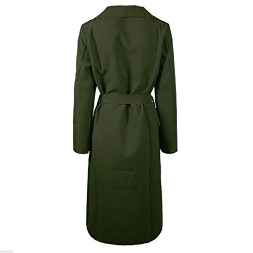 Womens Ladies italiano Plain Full manga larga abierta Drape Ruched frente cuello Wrap Over Belted cascada celebridad inspirado abrigo largo de plumero talla única 8101214 caqui